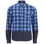 Native Youth Men's Indigo Gingham Colourblock Shirt - Indigo