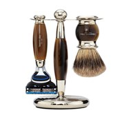 Truefitt & Hill Edwardian Badger Fusion Razor, Brush and Stand Set - Faux Horn