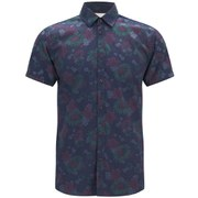 Jack & Jones Originals Men's Short Sleeved Floral Van Shirt - Peacoat