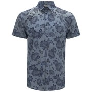 Jack & Jones Originals Men's Short Sleeved Printed Van Shirt - Bering Sea