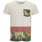 Jack & Jones Originals Men's Floral Panelled Up T-Shirt with Pocket - White