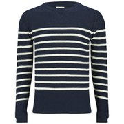 Selected Homme Men's One Crew Neck Stripe Knitted Jumper - Navy