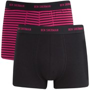 Ben Sherman Men's 2-Pack Trunks - Cerise/Black Stripe/Black