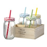 Parlane Jar Bottle With Straws - Clear