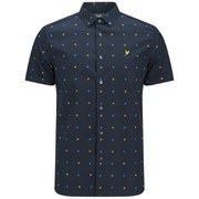 Lyle & Scott Men's Micro Print Woven Short Sleeve Shirt - Navy