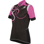 Santini Anna Women's Short Sleeve Print Jersey - Black/Rose Pink