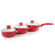 Cook In Colour Ceramic Non-Stick 3 Piece Pan Set - Red