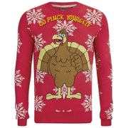 Brave Soul Men's Turkey Christmas Jumper - Red