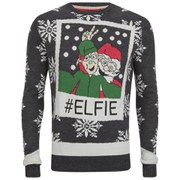 Brave Soul Men's Elfie Christmas Jumper - Blue