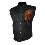 Spiral Men's ROCK GUARDIAN Sleeveless Stone Washed Worker Shirt - Black