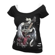 Spiral Women's ROCK ANGEL 2 in 1 White Ripped Top - Black