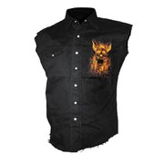 Spiral Men's BURN IN HELL Sleeveless Stone Washed Worker Shirt - Black