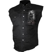 Spiral Men's SOUL SEARCHER Sleeveless Stone Washed Worker Shirt - Black