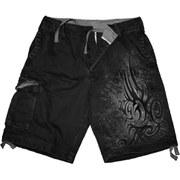 Spiral Men's STAINED TRIBAL Vintage Cargo Shorts - Black