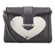 Love Moschino Women's Gold Heart Clutch Bag with Shoulder Strap - Black