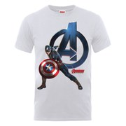 Marvel Avengers Men's Age of Ultron Captain America T-Shirt - Ash Grey