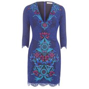 Matthew Williamson Women's Jardin Lace Embroidered Mini Dress - Moroccan Blue