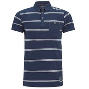 Brave Soul Men's Lorca Striped Polo Shirt - Ocean Blue