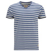 Brave Soul Men's Boson Striped V Neck T-Shirt - Dusty Blue Marl