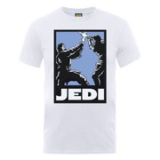 Star Wars Men's Jedi Fight Art Poster T-Shirt - White