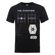 Star Wars Men's Tie Fighter Blueprint T-Shirt - Black