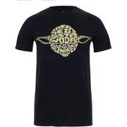 Star Wars Men's Yoda Text Head T-Shirt - Black