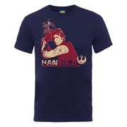 Star Wars Men's Han Solo Head Distressed T-Shirt - Navy