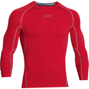 Under Armour Men's Armour HeatGear Long Sleeve Compression Training Top - Red/Steel
