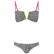 South Beach Women's Neon Lime Bandeau Bikini - Black
