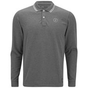 Jack & Jones Men's Core Thom Long Sleeve Polo Shirt - Grey Melange