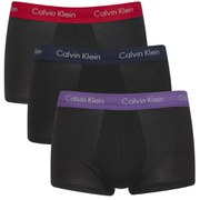 Calvin Klein Men's Cotton Stretch 3 Pack Low Rise Trunks with Colour Waist Band
