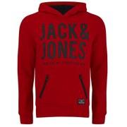 Jack & Jones Men's Core Strack Sweat Hoody - Barbados Cherry