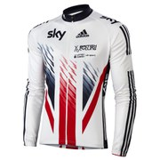 adidas British Cycling Team Race Long Sleeve Jersey 2015 - Blue/White/Red