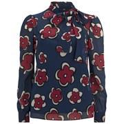 REDValentino Women's Tie Neck Blouse - Blue