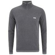 BOSS Green Men's Zime 3/4 Zip Chest Logo Knitted Jumper - Grey Melange