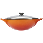 Le Creuset Cast Iron Wok with Glass Lid - 32cm - Volcanic