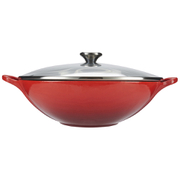 Le Creuset Cast Iron Wok with Glass Lid - 32cm - Cerise