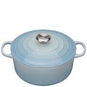 Le Creuset Signature Cast Iron Round Casserole Dish - 24cm - Coastal Blue