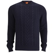 BOSS Orange Men's Kaas Cable Knitted Jumper - Navy