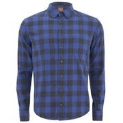 BOSS Orange Men's Esecret Checked Long Sleeve Shirt - Blue