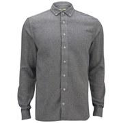 YMC Men's Heavy Cotton Long Sleeve Shirt - Navy/Cream