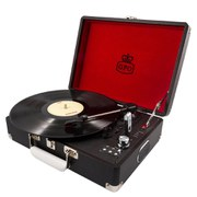 GPO Attache Briefcase Style Three-Speed Portable Vinyl Turntable with Free USB Stick and Built-In Speakers - Black