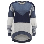 Maison Scotch Women's Oversized Patchwork Sweatshirt - Blue