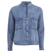Maison Scotch Women's Cropped Drape Shirt - Blue