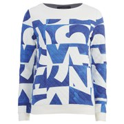 Maison Scotch Women's Quilted Allover Printed Sweatshirt - White