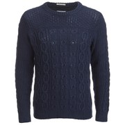 GANT Rugger Men's Chunky Cable Knit Jumper - Blue