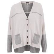 Cocoa Cashmere Women's Cashmere Contrast Cardigan - Grey/Alabaster