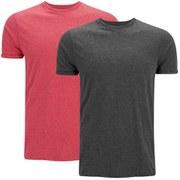 Brave Soul Men's Vardan 2 Pack T-Shirt - Grey/Red