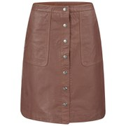 Designers Remix Women's Erin A Line Leather Skirt - Burnt Orange
