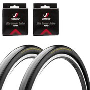 Continental Hometrainer II Clincher Road Tyre Twin Pack with 2 Free Inner Tubes Black 700c x 23mm